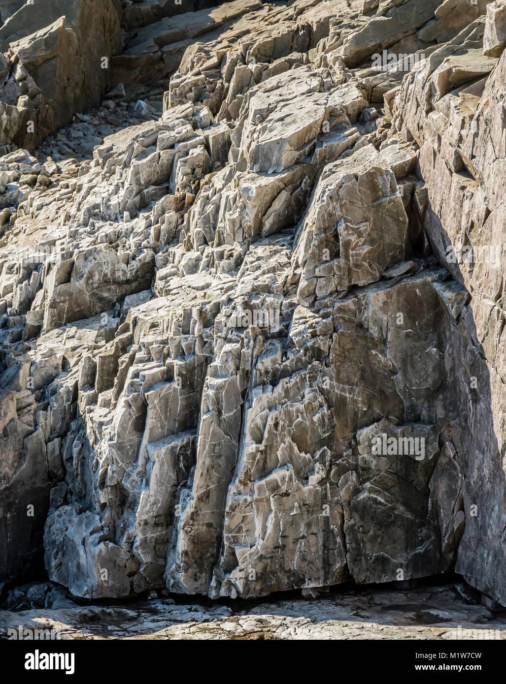 Jagged Rocks on Maine Coast in Acadia National Park - Stock Image