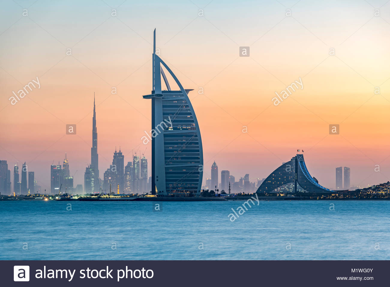 Dubai, United Arab Emirates. 2nd Feb, 2018. Clear weather on Dubai at sunrise with 16 degree Celsius (61F), United - Stock Image
