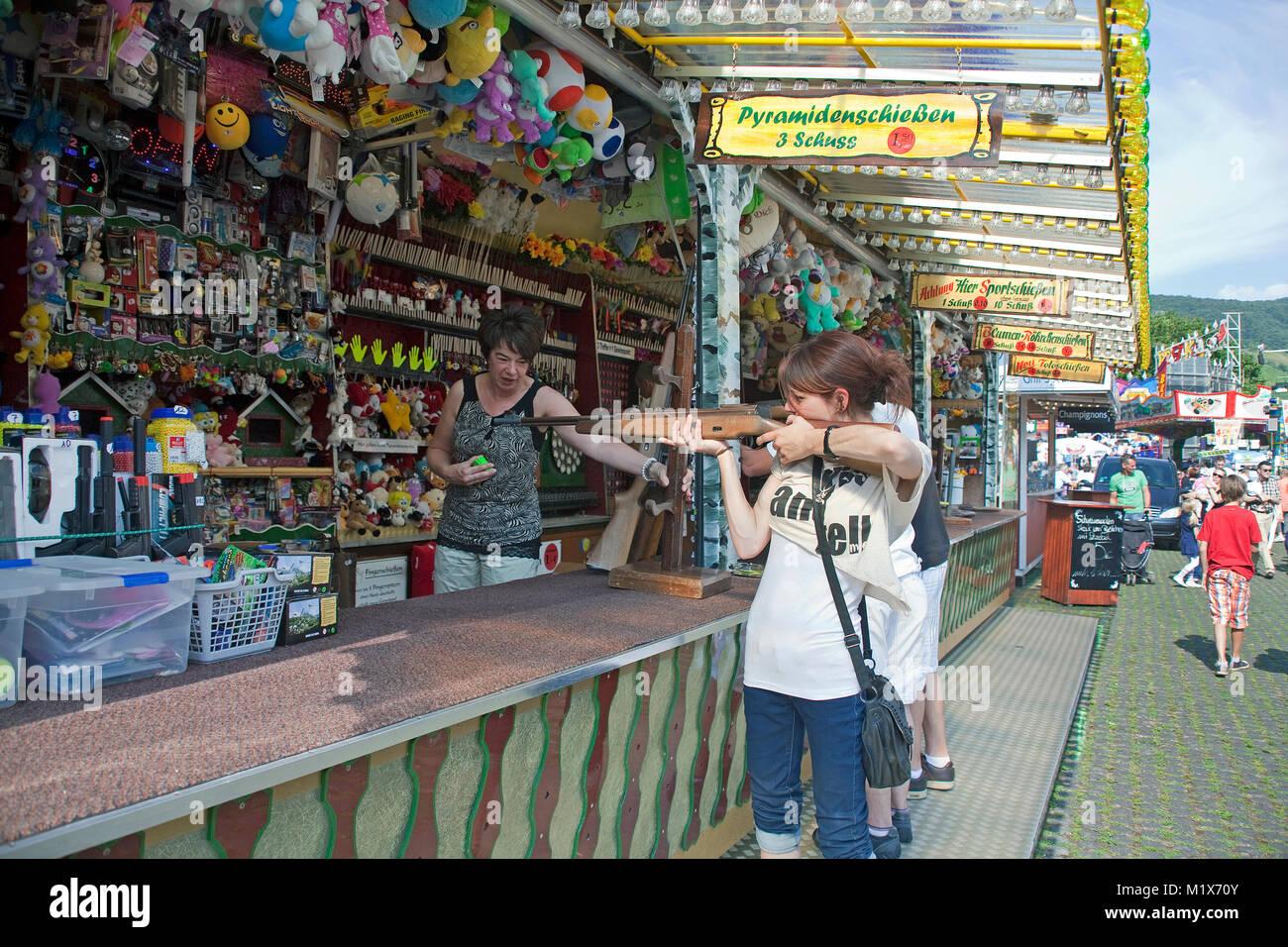 Shooting gallery at the fairground of wine village Bernkastel-Kues, Moselle river, Rhineland-Palatinate, Germany, - Stock Image