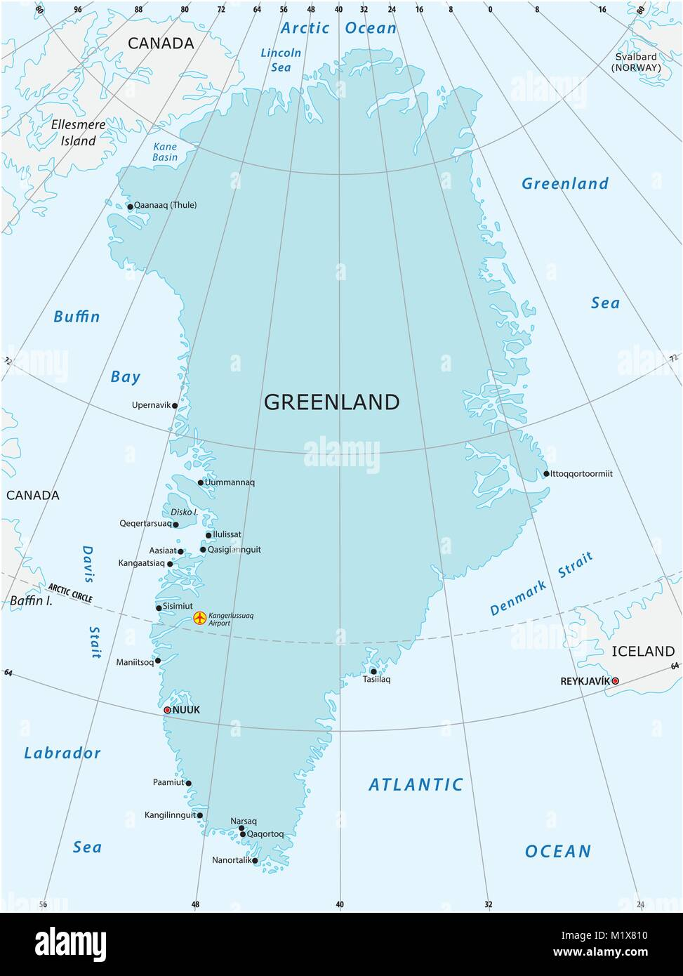 Vector map of the autonomous state of Greenland - Stock Image