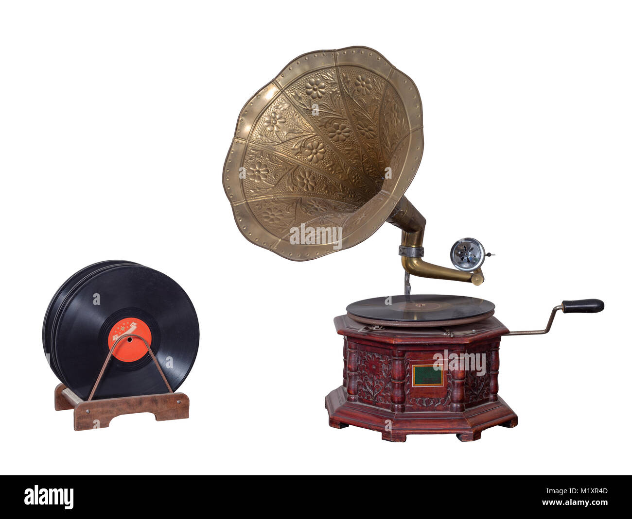 Old nineteenth century phonograph (gramophone) and vinyl records isolated on white including clipping path - Stock Image