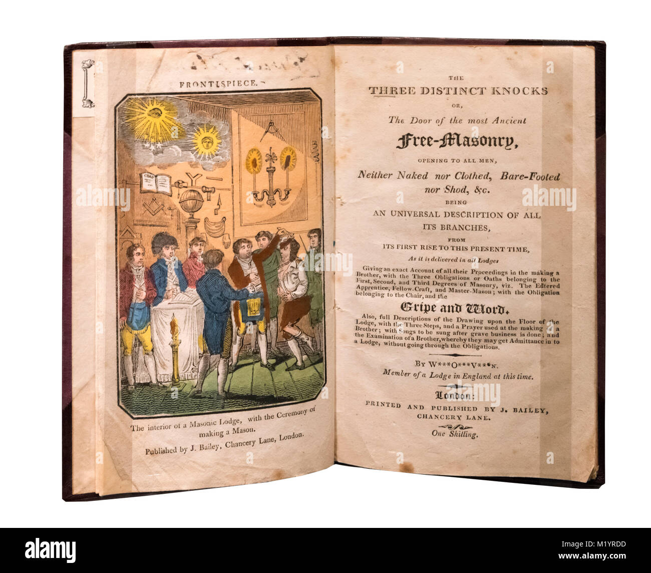 The Three Distinct Knocks, an early 19th century book about the rituals of the Freemasons (c.1818). - Stock Image