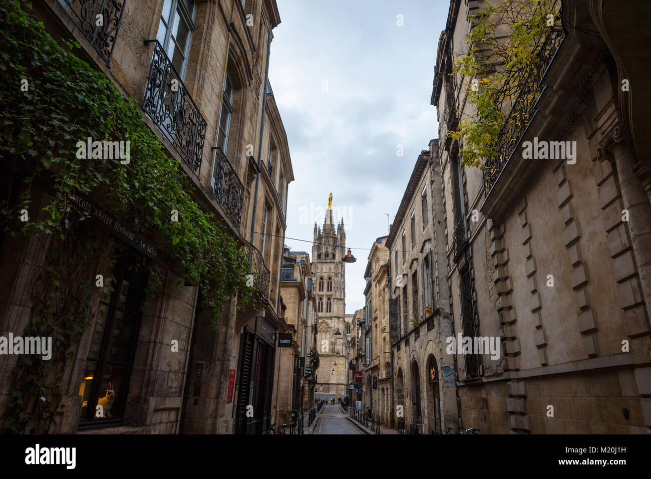 BORDEAUX, FRANCE - DECEMBER 26, 2017: Tour Pey Berland (Pey Berland tower) on Saint Andre Catehdral surrounded by - Stock Image