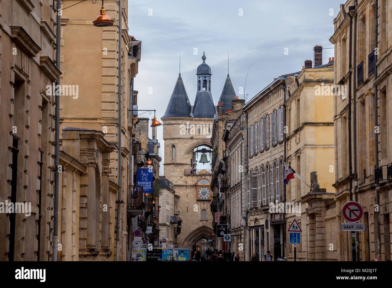 BORDEAUX, FRANCE - DECEMBER 26, 2017: Porte Saint James (Saint James Gate) also known as Grosse Cloche (Big Bell) - Stock Image