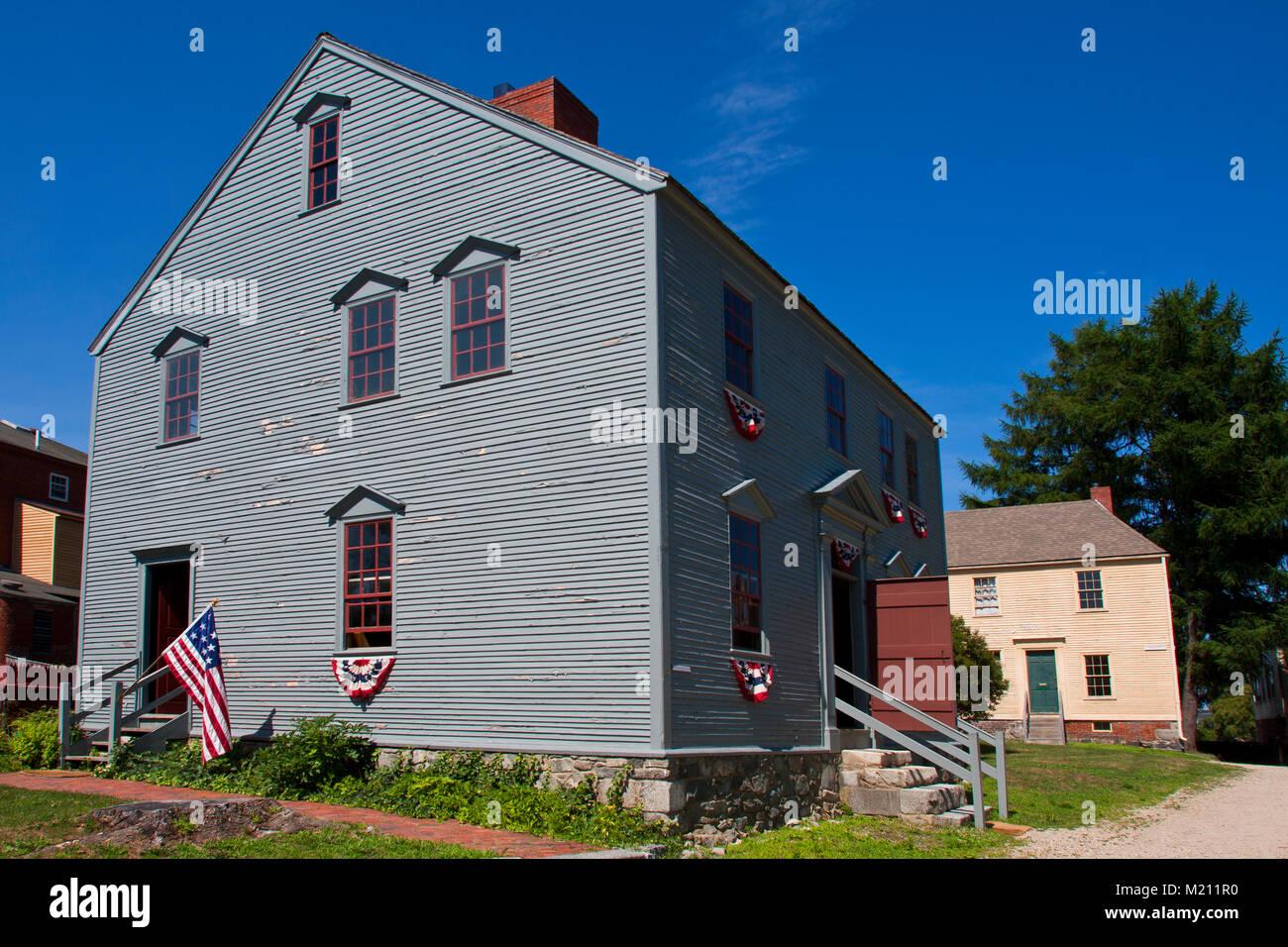 Strawbery Banke Museum, historic restoration, Portsmouth New Hampshire, Wheelright House (bluegrey) Jefferson Street, - Stock Image