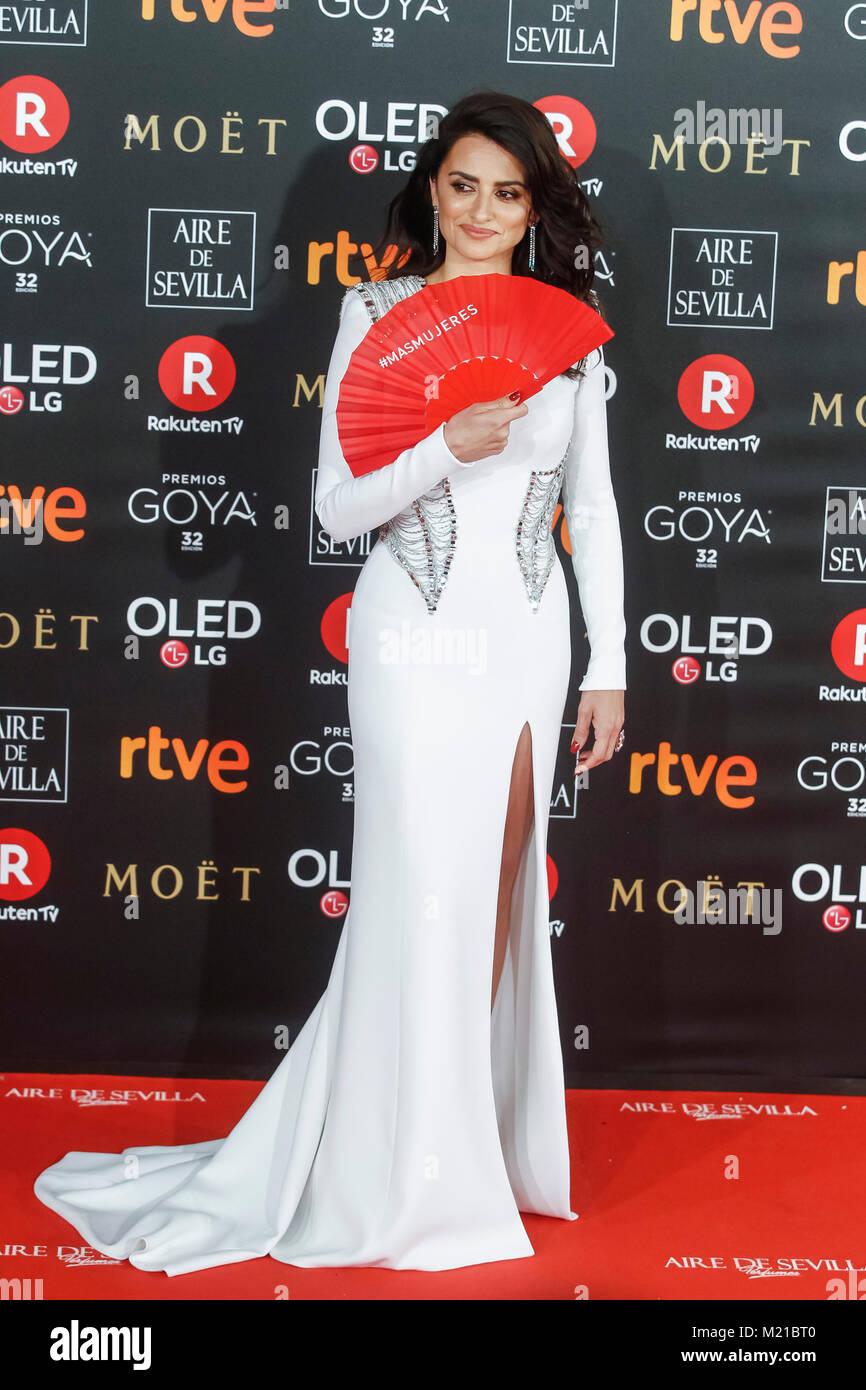 Madrid, Spain. 03rd Feb, 2018. Penelope Cruz at the Goya cinema awards at the Marriot Hotel in Madrid, Spain February - Stock Image