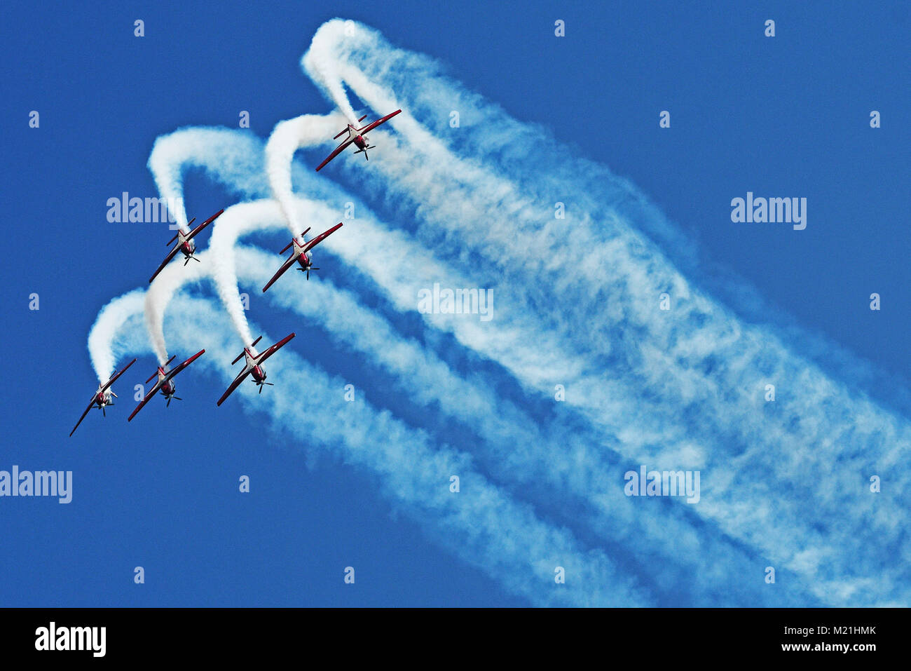 Singapore. 4th Feb, 2018. Aircrafts from Indonesia Air Force perform at the media preview of the Singapore Airshow - Stock Image