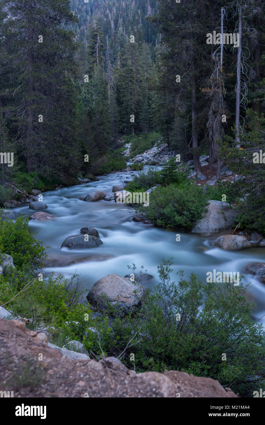 Slow Exposure of the Marble Fork Kaweah River in Sequoia - Stock Image