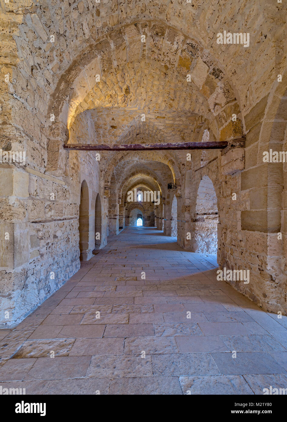 Passage at the Citadel of Qaitbay, an old historical castle in Alexandria, Egypt, a fifteen century defensive fortress - Stock Image