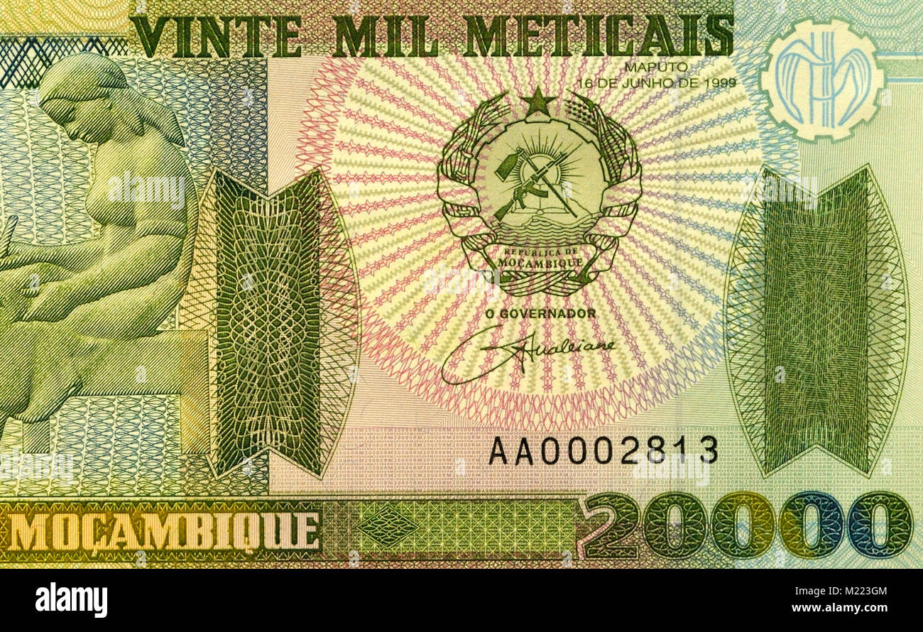 Mozambique 20,000 Twenty Thousand Meticals Bank Notes - Stock Image