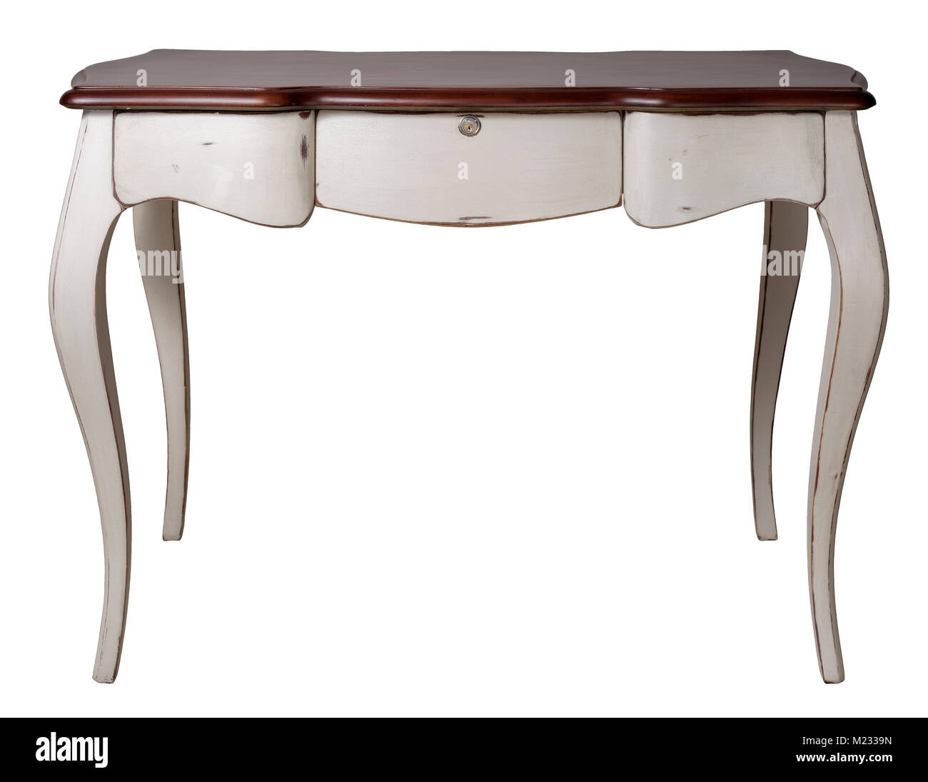 Vintage Furniture - Retro wooden desk table with white legs and three drawers isolated on white background including - Stock Image