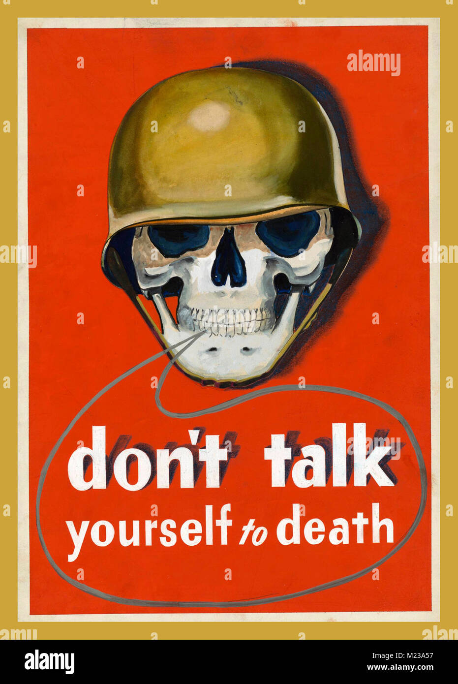 1940's WW2 US Army cautionary propaganda poster 'Don't talk Yourselves to Death' Giving secrets - Stock Image