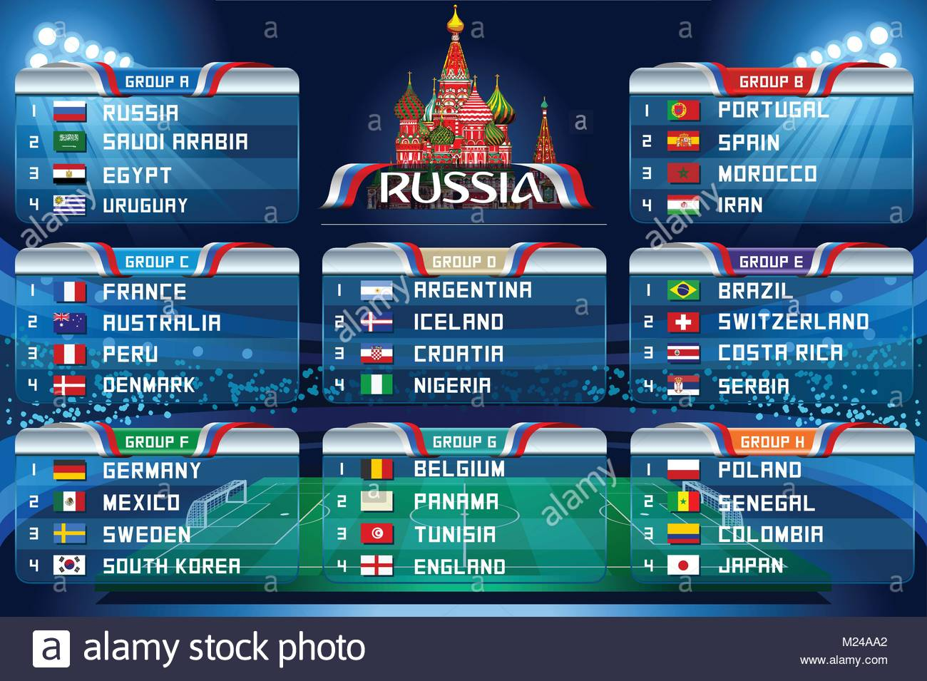 football world cup groups vector flag collection 2018