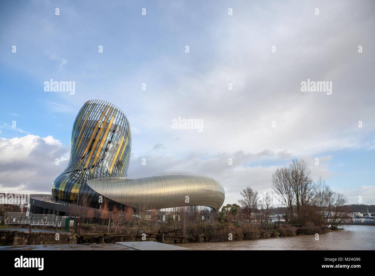 BORDEAUX, FRANCE - DECEMBER 27, 2017: Cite du Vin main building during a sunny afternoon. Cite du Vin (wine city) - Stock Image