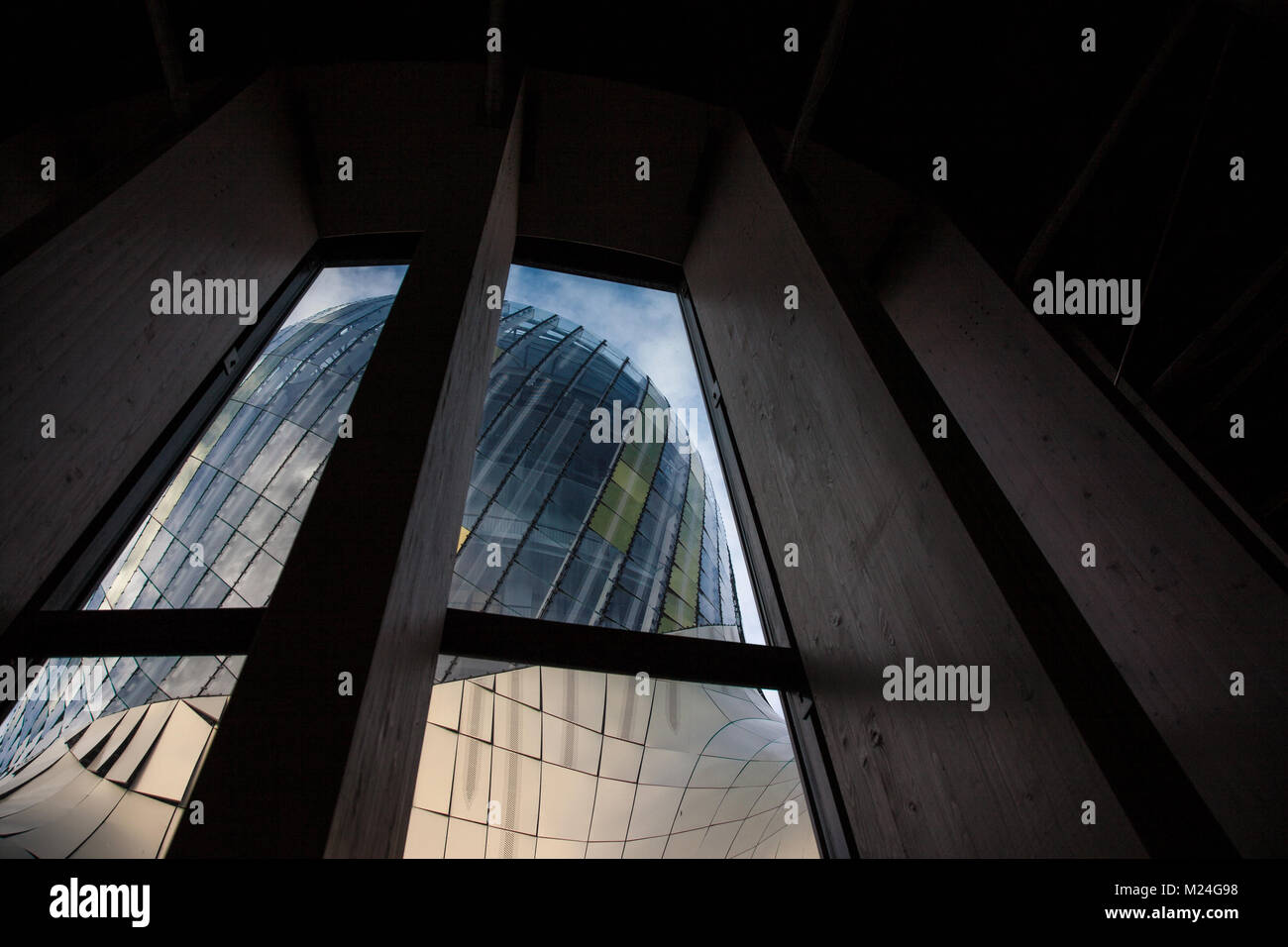 BORDEAUX, FRANCE - DECEMBER 27, 2017: Cite du Vin main tower seen from the inside during a sunny afternoon. Cite - Stock Image