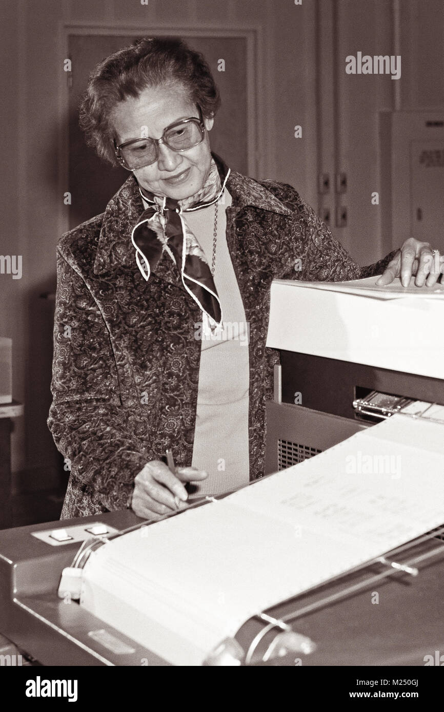 NASA research mathematician Katherine Johnson at work at NASA Langley Research Center in 1980. Johnson was featured - Stock Image
