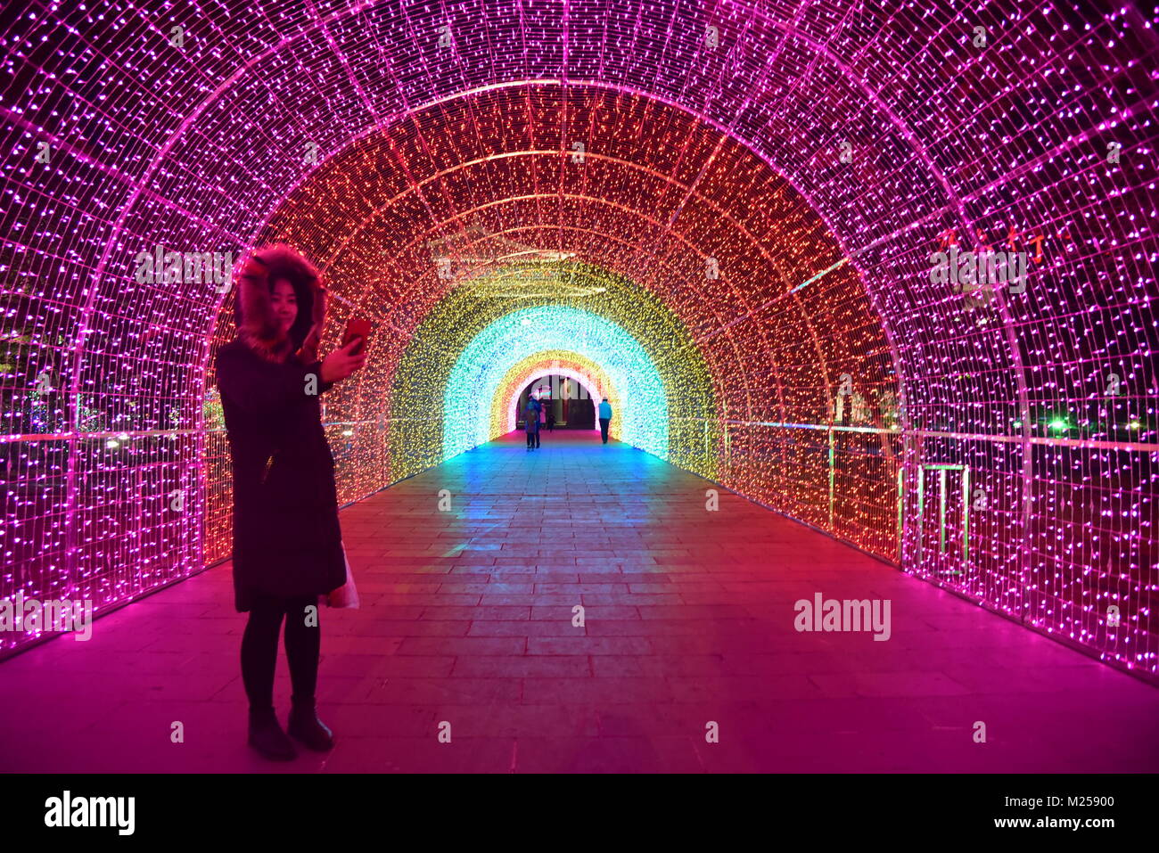 Hohhot, Hohhot, China. 5th Feb, 2018. Hohhot, CHINA-5th February 2018: The 60-meter-long rainbow tunnel can be seen - Stock Image
