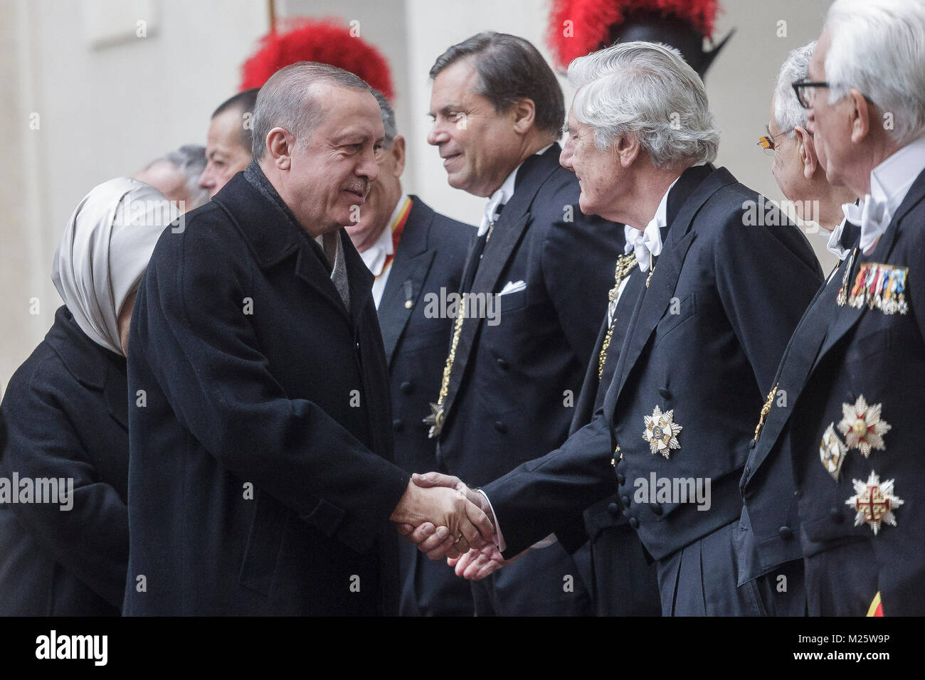 Vatican City, Vatican. 05th Feb, 2018. Turkey's President Recep Tayyip Erdogan is welcomed by Pope's Gentiluomini - Stock Image
