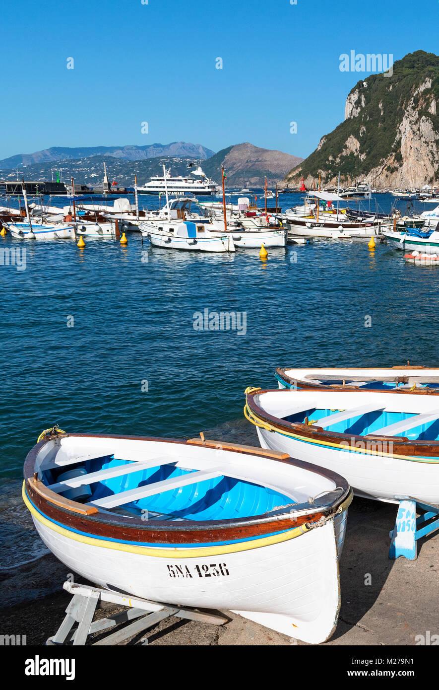 fishing boats at marina grande on the island of capri, campania, italy. - Stock Image