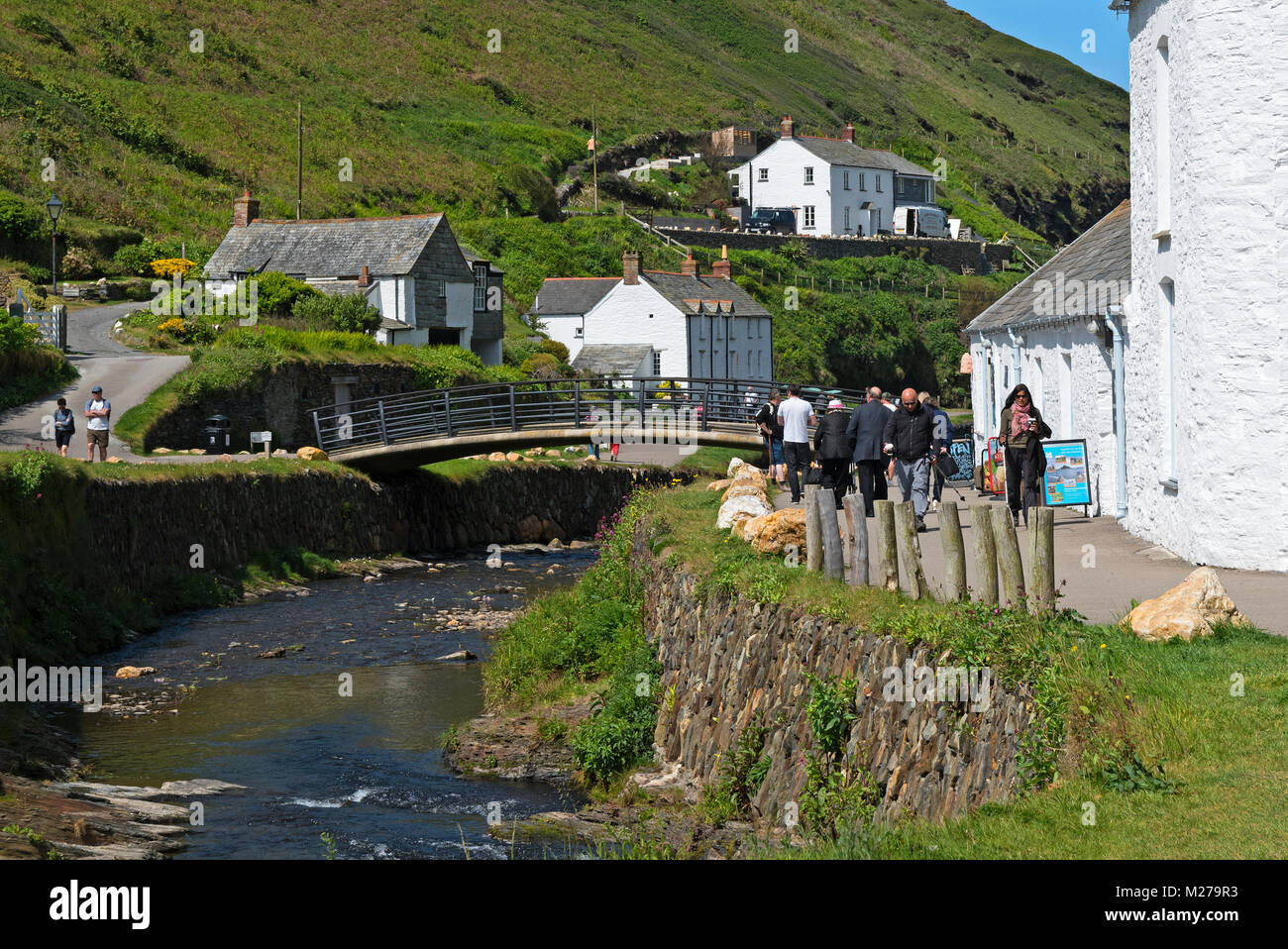 the river valency running through the historic village of boscastle in north cornwall,england, britain, uk,. - Stock Image