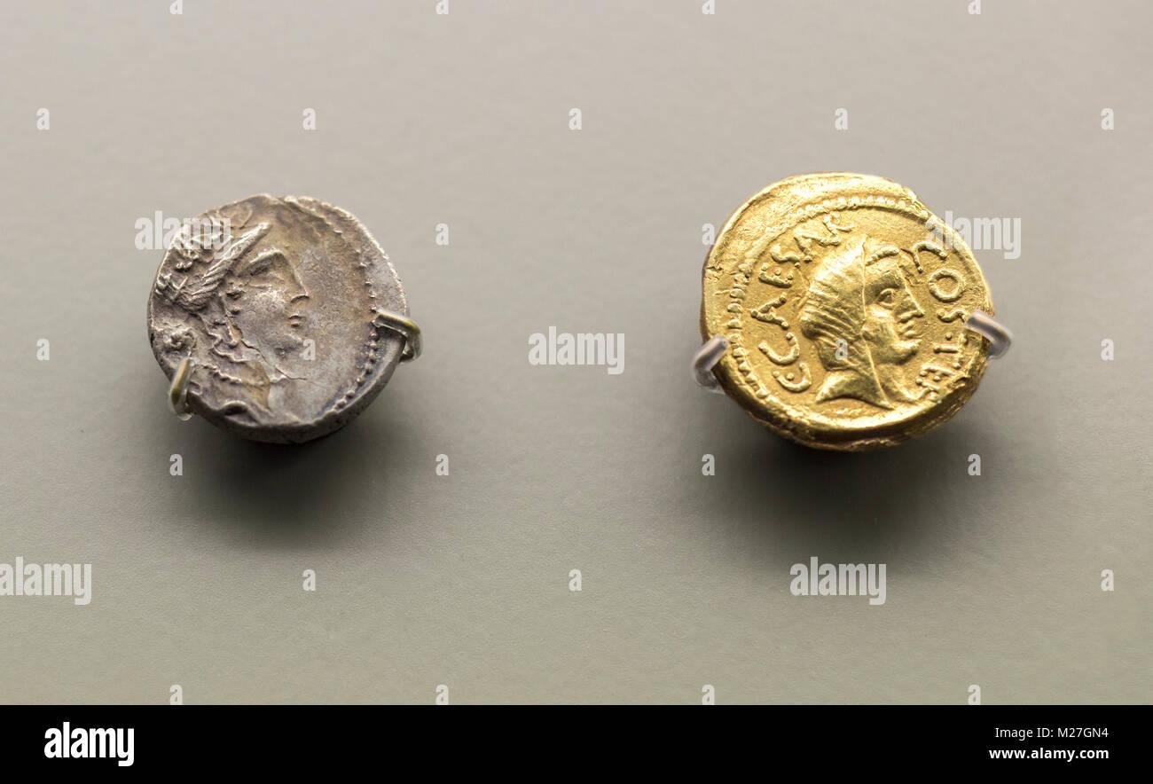 Merida, Spain - December 20th, 2017: Roman General and dictator Julius Caesar coins at National Museum of Roman - Stock Image