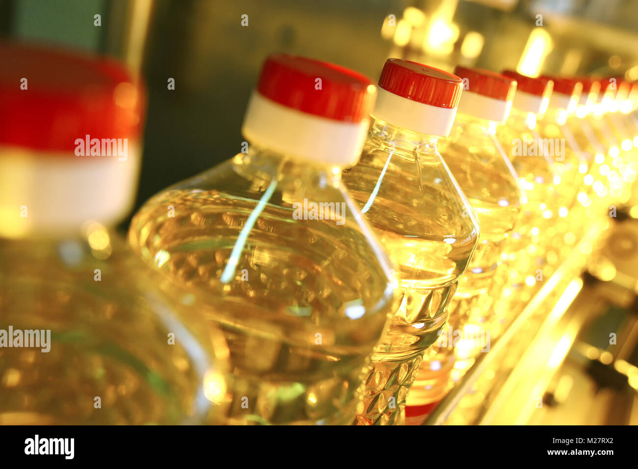 Sunflower oil. Line for the production and bottling of refined oil from sunflower seeds. Conveyor of food industry - Stock Image
