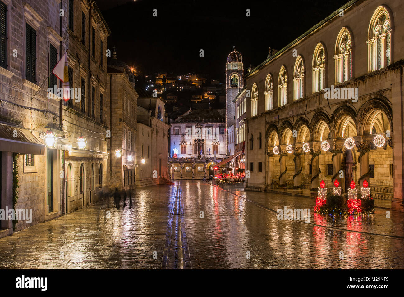 Night view of Rector's Palace adorned with Christmas lights and decorations and behind it the Sponza Palace, - Stock Image