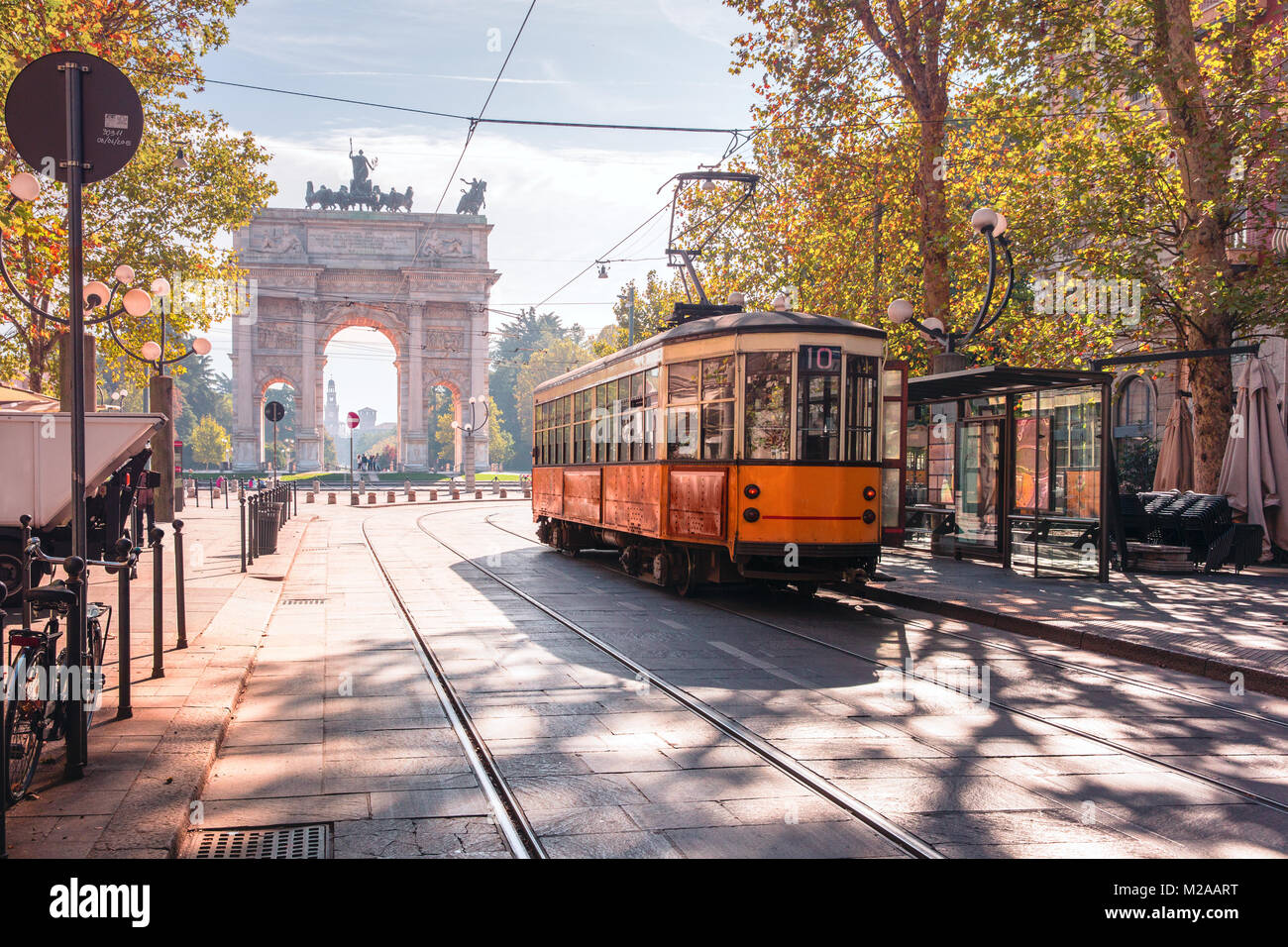 Famous vintage tram in Milan, Lombardia, Italy - Stock Image