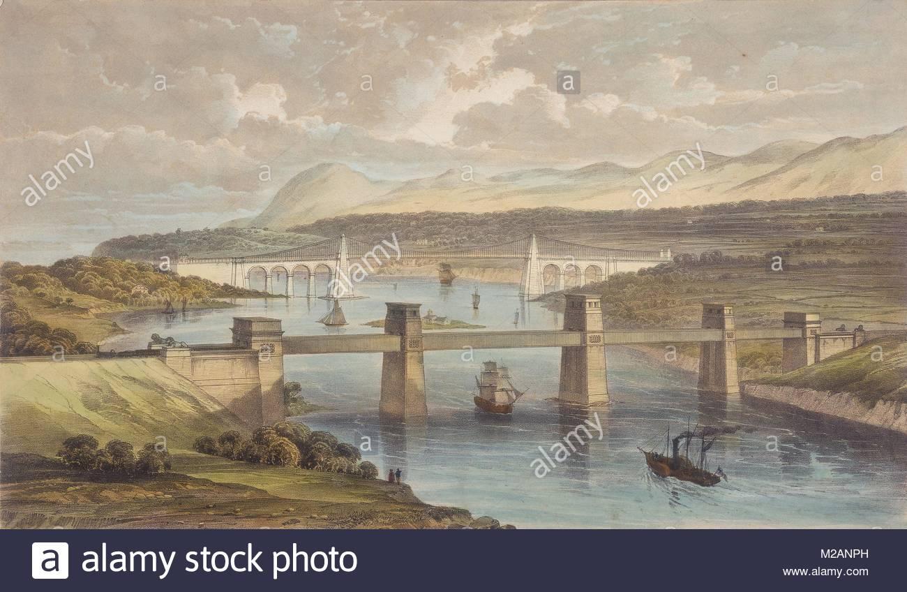 Britannia Tubular Bridge over Menai Straits - Stock Image