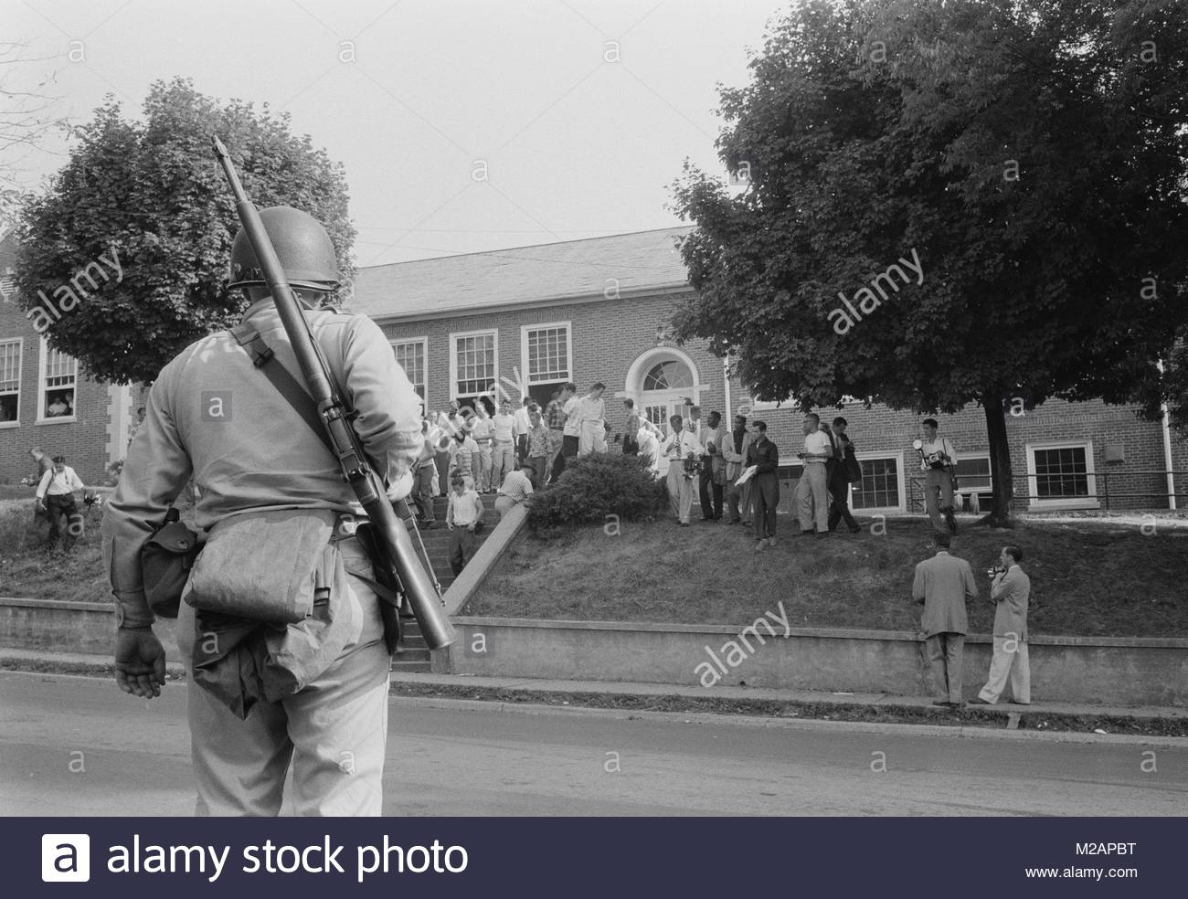 Armed National Guardsman on duty at Little Rock High School - Stock Image