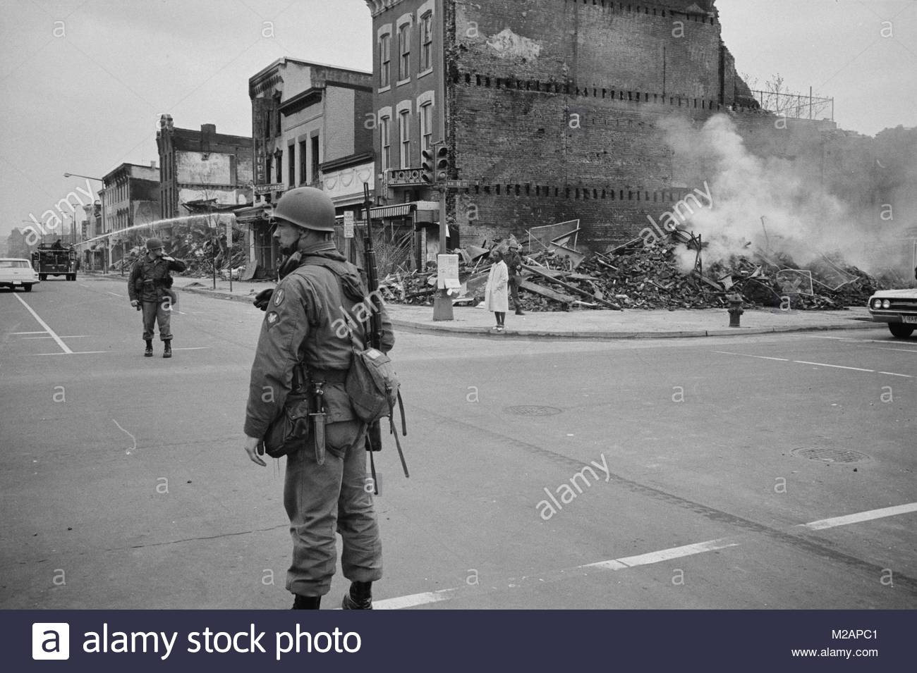 Soldier standing guard in a Washington - Stock Image