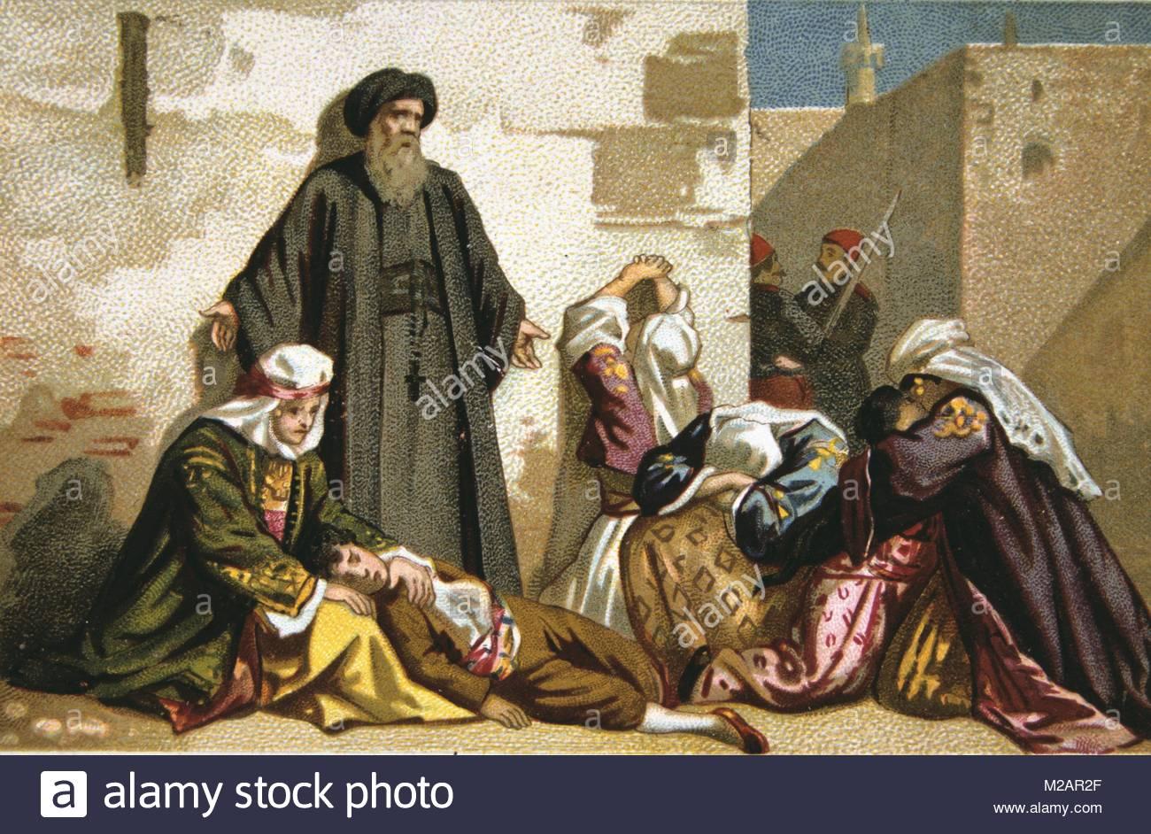 Massacre of Armenians by Ottoman Turks under Abdul Hamid - Stock Image