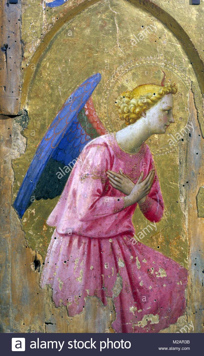 Angel in Adoration' painting on wood - Stock Image
