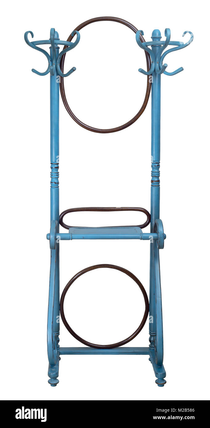 Vintage double wooden coat hanger stand with two rounded mirrors painted in turquoise and brown colors isolated - Stock Image