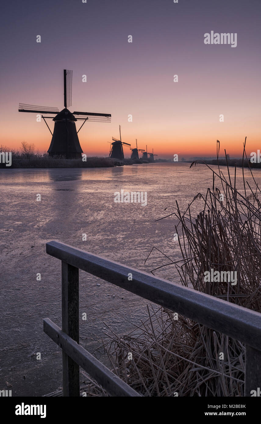 Windmills at the Kinderdijk UNESCO World Heritage Site in the Netherlands - Stock Image
