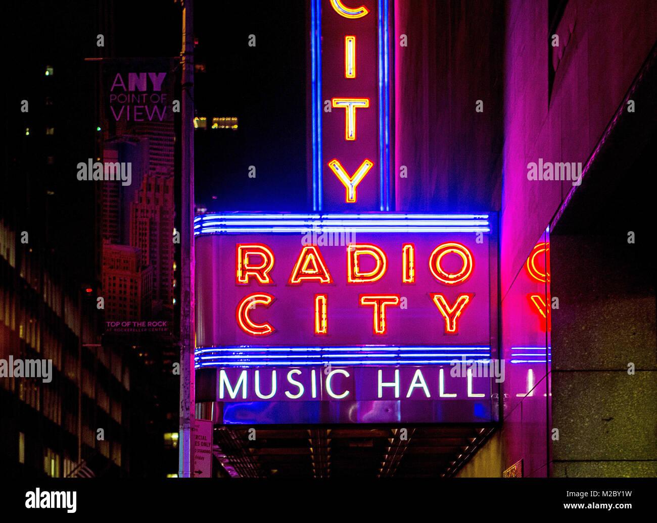 outside neon lights of radio city music hall in new york, usa, - Stock Image