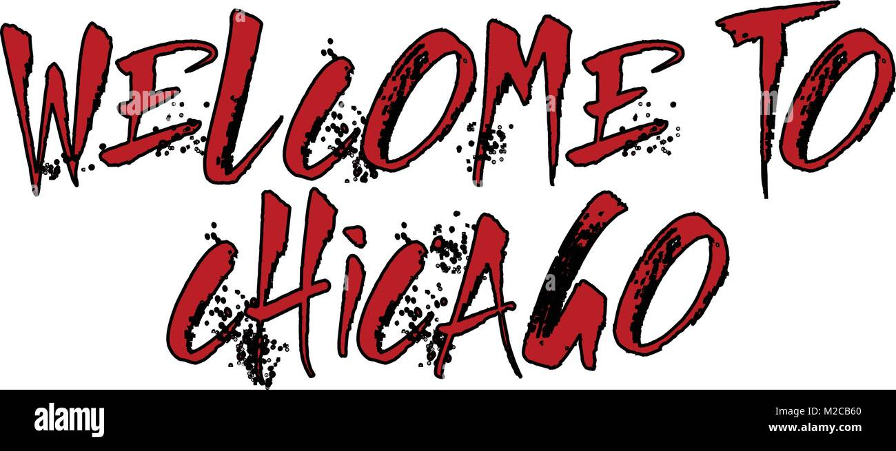 Welcome to Chicago text sign illustration on white background - Stock Image