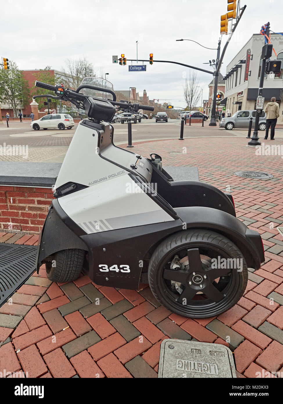Segway SE-3 Patroller police transportation vehicle parked and ready to go at Toomer's Corner, in Auburn Alabama, - Stock Image
