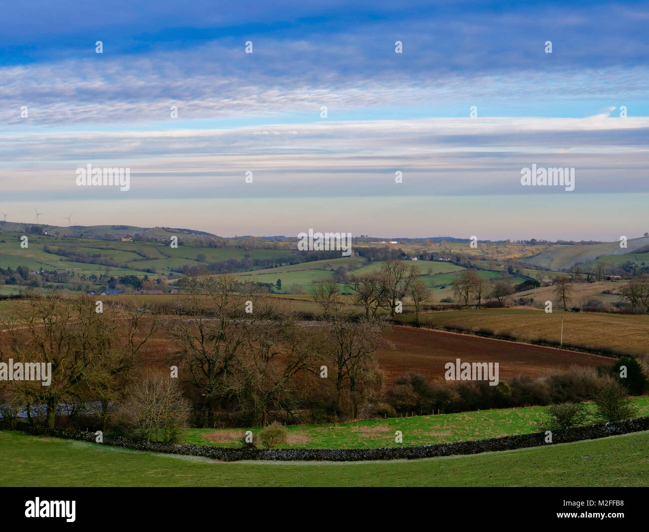 Parwich Village, Derbyshire. 7th Feb, 2018. UK Weather: Loverly view toward Parwich village from the Tissington - Stock Image