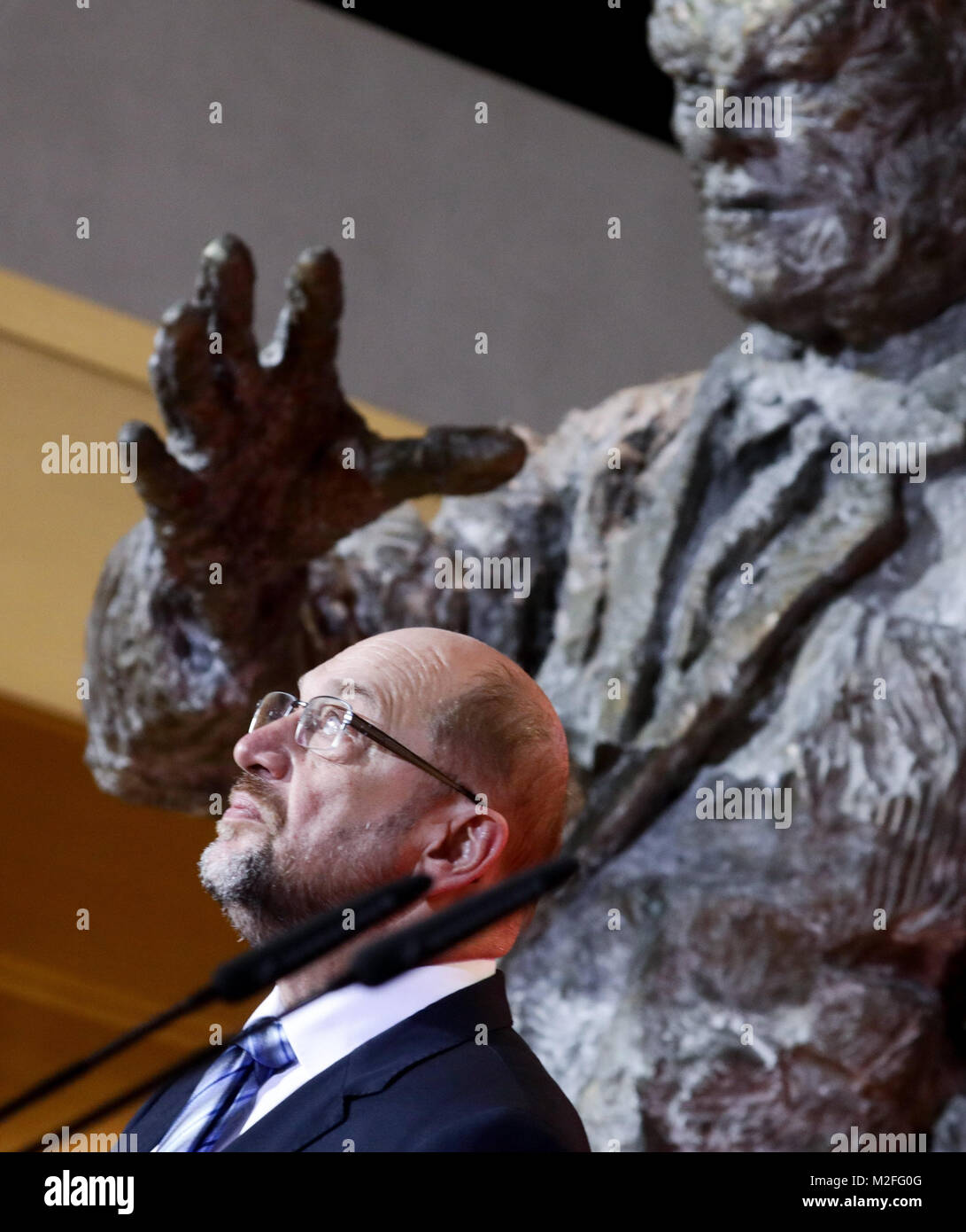 Berlin, Germany. 07th Feb, 2018. Martin Schulz, the chairman of the Social Democratic Party (SPD), delivers a statement - Stock Image