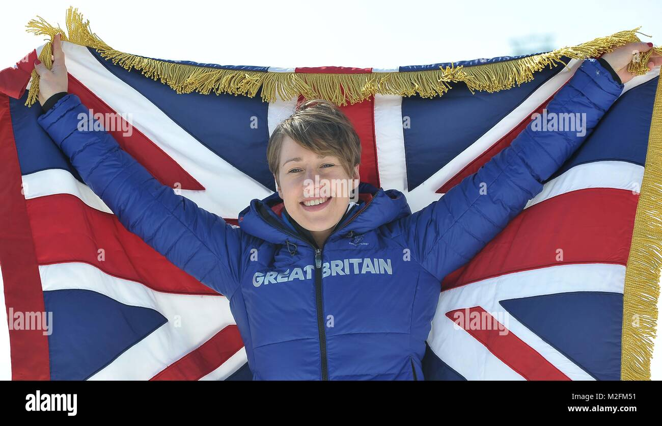 South Korea. 8th February, 2018. Lizzy Yarnold (GBR, skeleton) is unveiled as the TeamGB flagbearer for the opening - Stock Image
