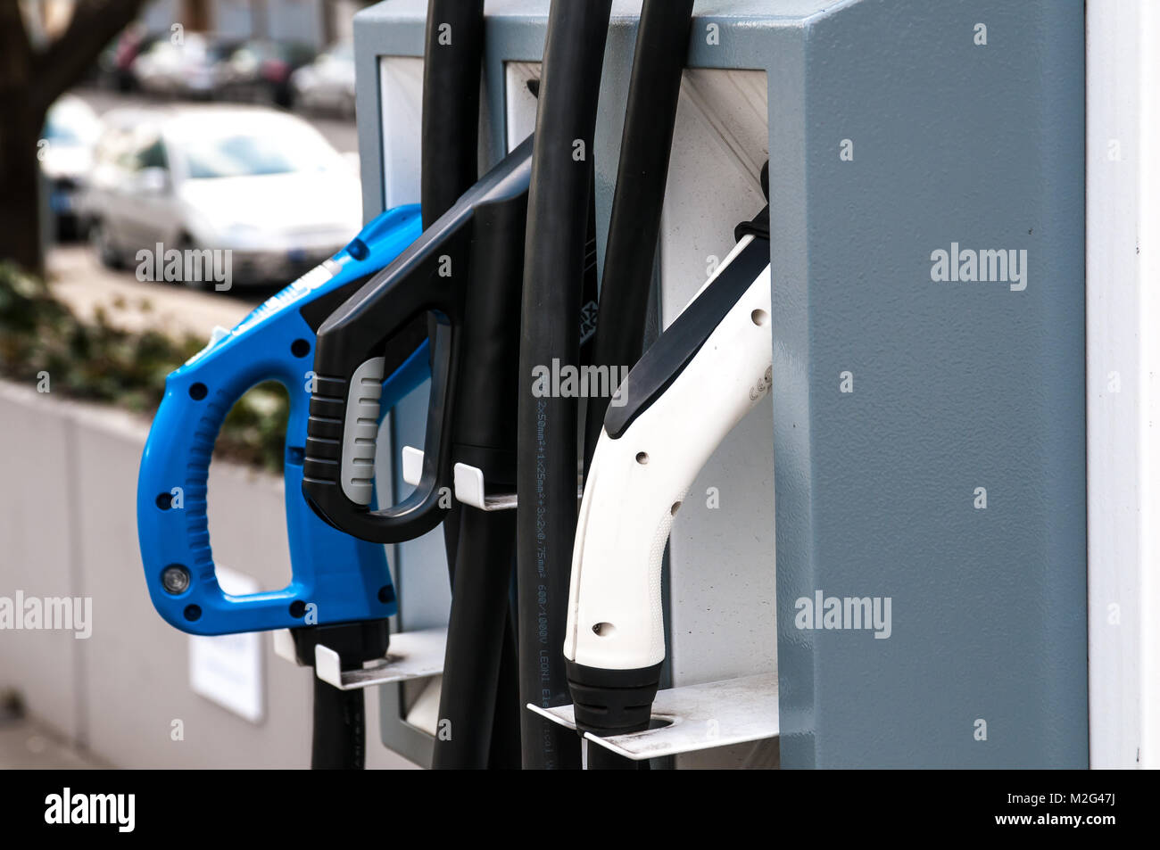 Prague, Czech Republic, 2 February 2018, charging station for electric cars and hybrid cars - Stock Image