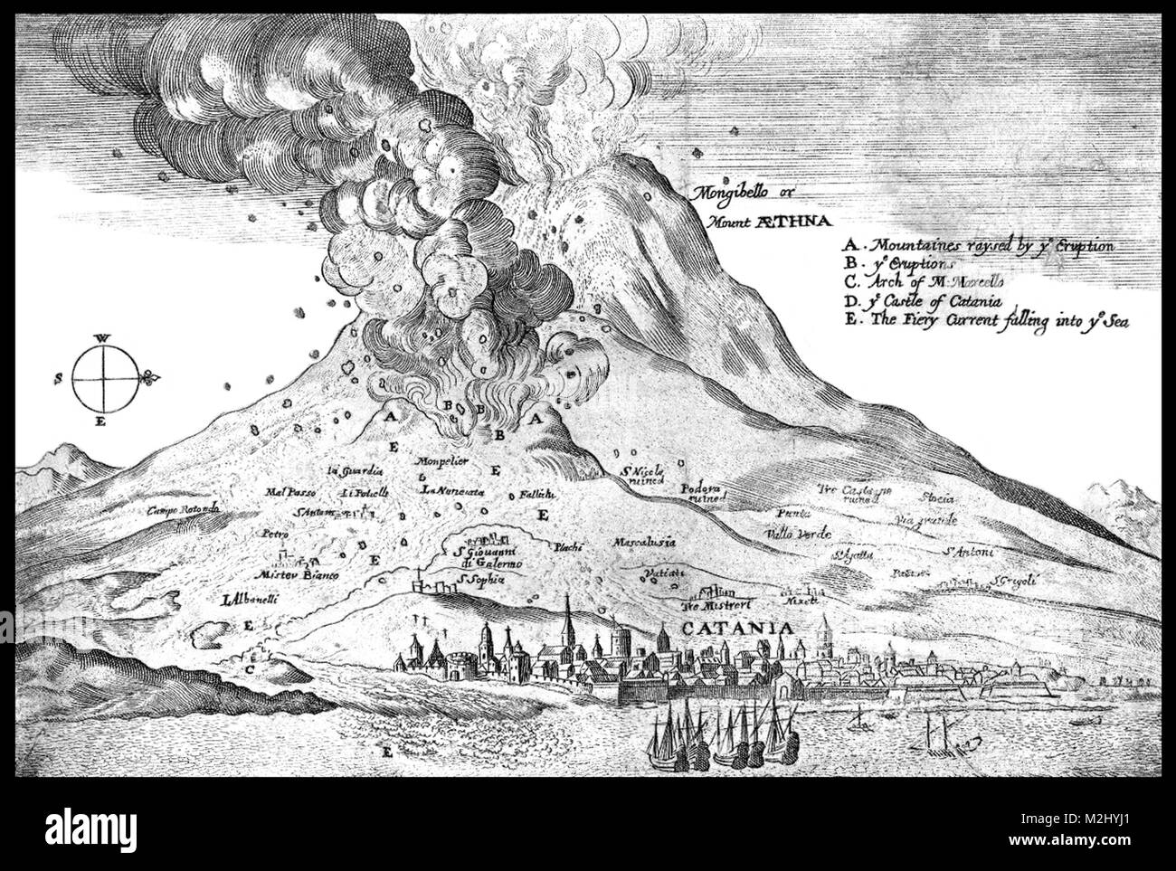 Mount Etna Eruption, 1669 - Stock Image