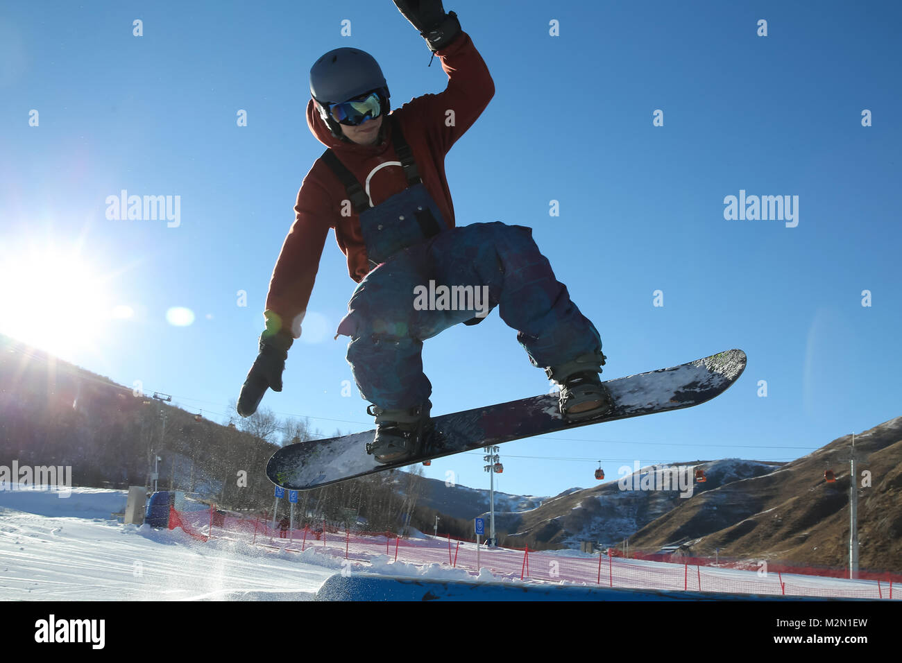Young men outdoor skiing - Stock Image