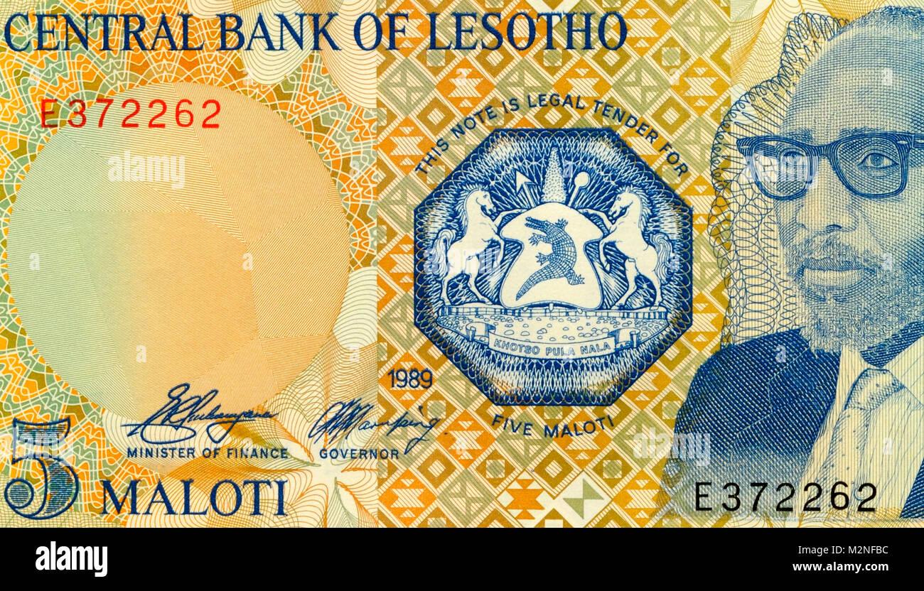 Lesotho Five 5 Maloti Bank Notes - Stock Image