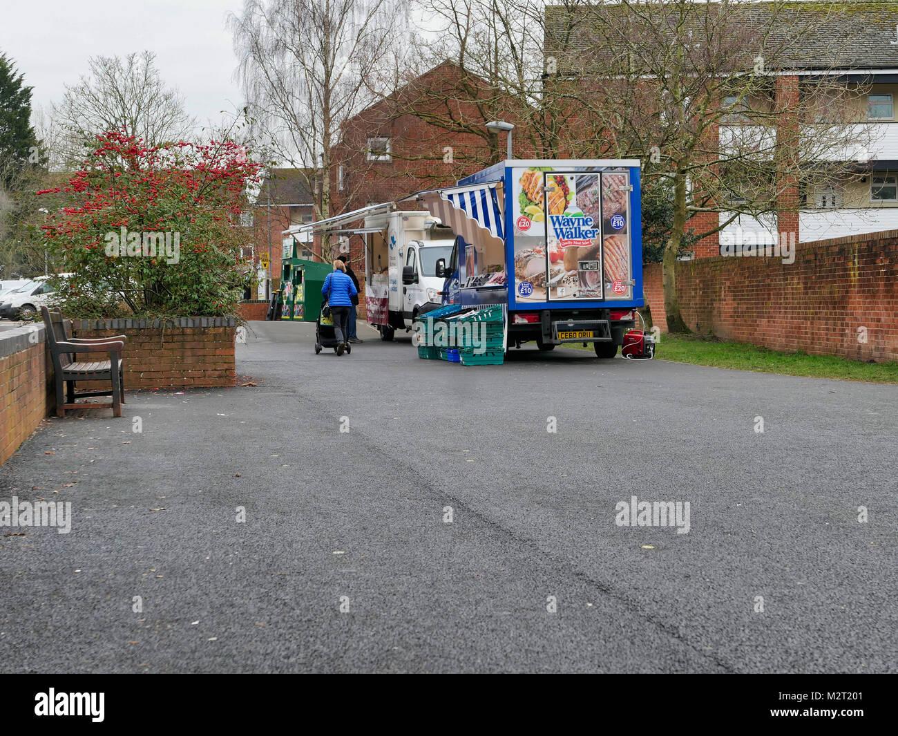 Ashbourne, UK. 8th February, 2018. Only two vendors attend the struggling Ashbourne, Derbyshire Thursday market - Stock Image