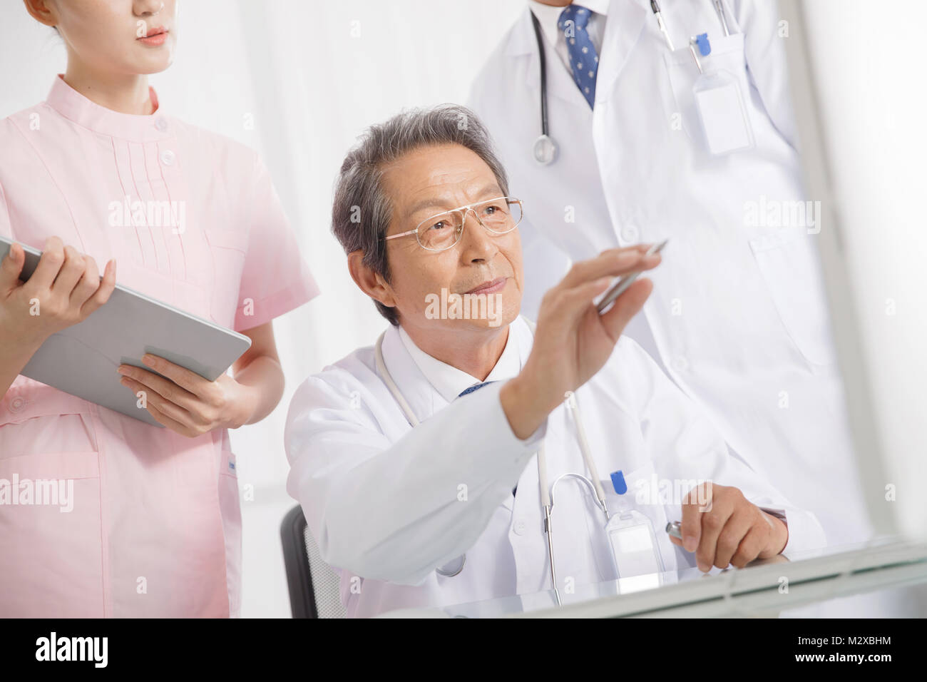 The doctor discussed at the meeting - Stock Image