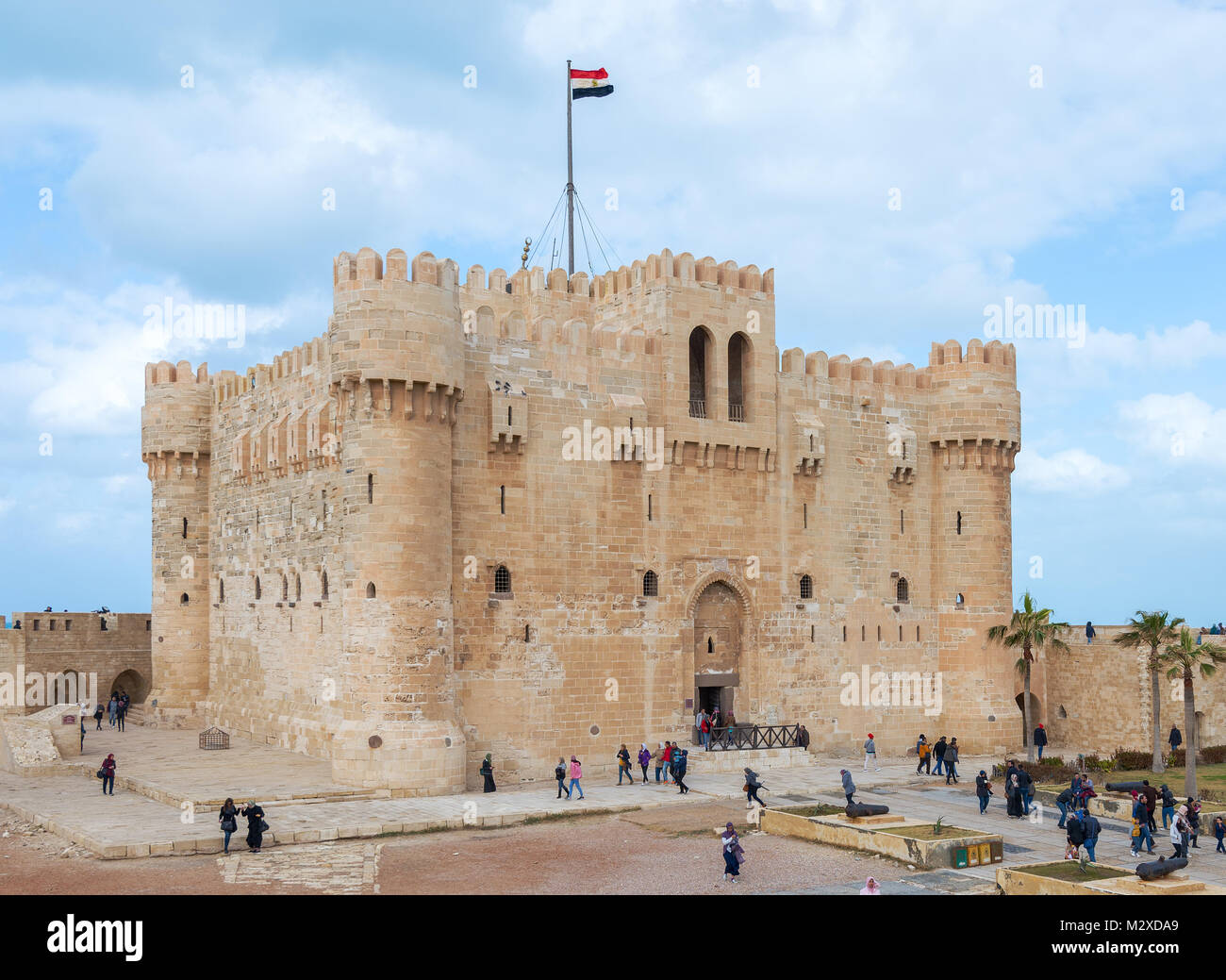 Alexandria, Egypt - January 25, 2018: Citadel of Qaitbay, a 15th century defensive fortress located on the Mediterranean - Stock Image