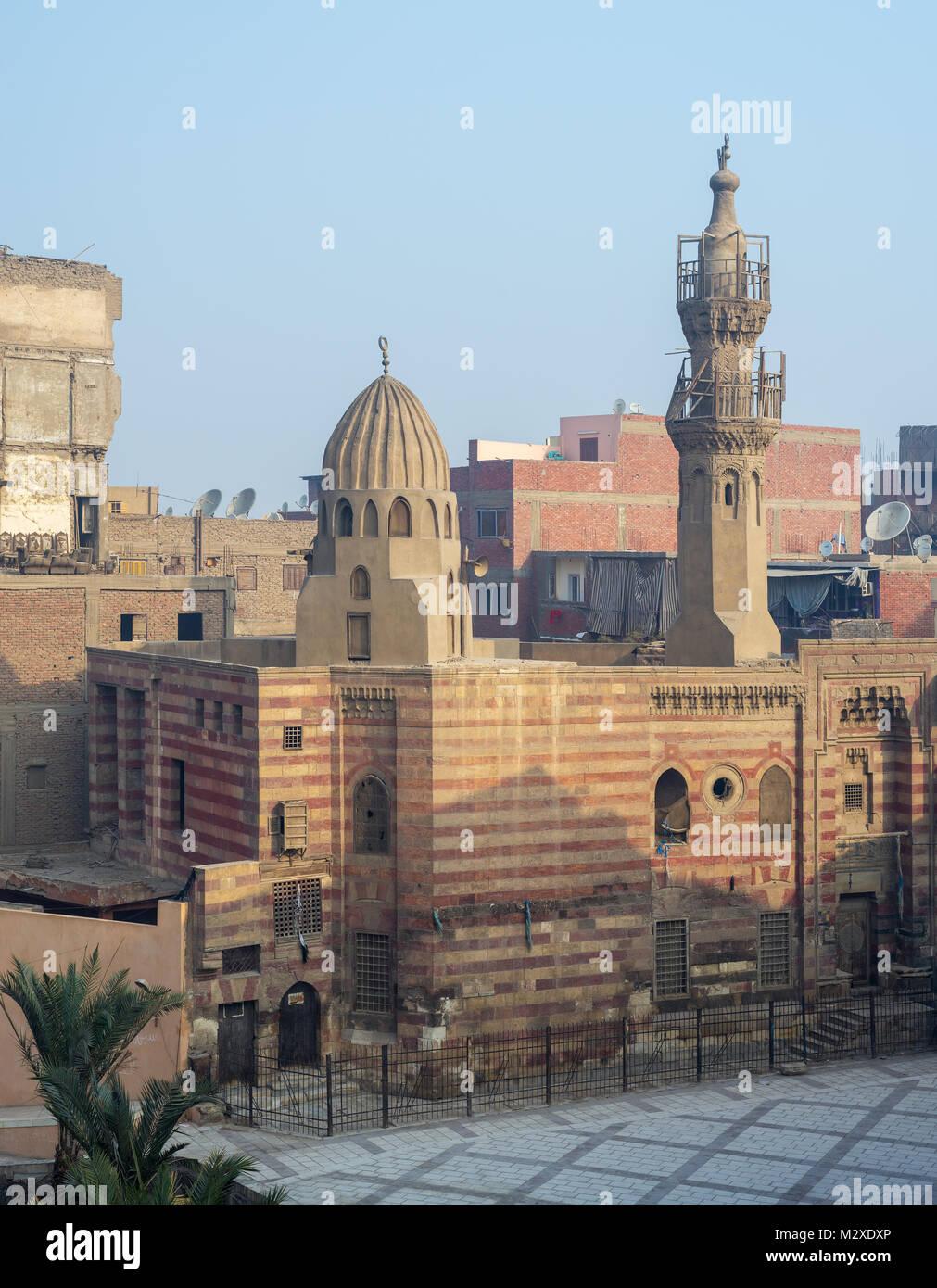 Cairo, Egypt - January 1, 2018: Exterior facade of Jawhar al-Lala mosque - Stock Image