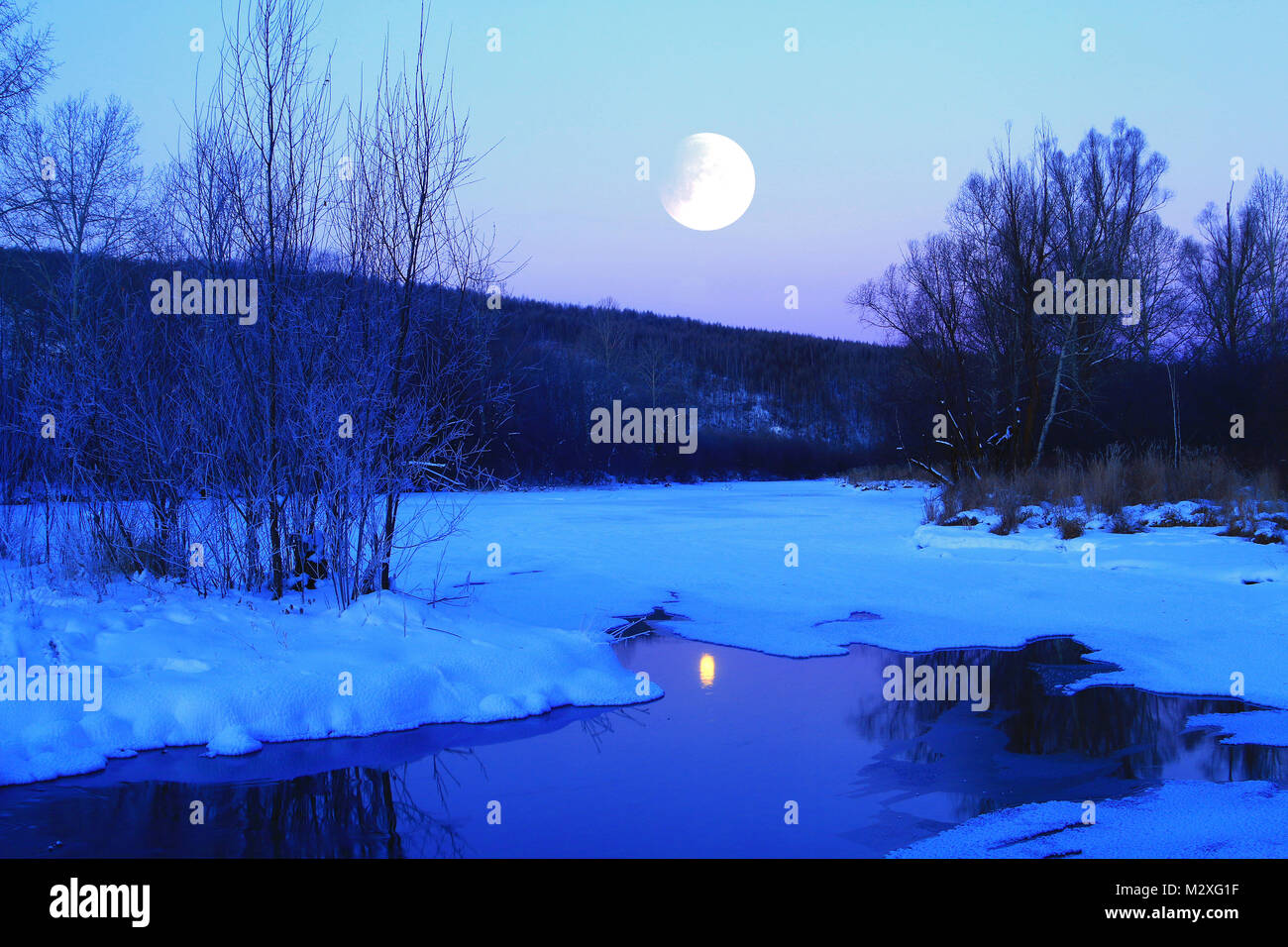 Night view of Heilongjiang, Greater Khingan Range - Stock Image
